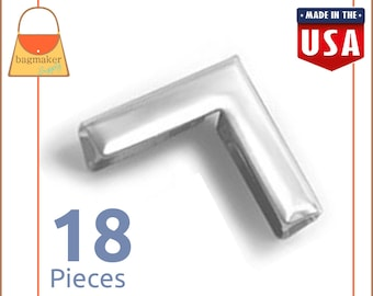 1 Inch Purse Flap Book Corner Protectors, Nickel Finish, 18 Pack, Perfect Finishing Touch! Purse Handbag Bag Making Supplies, CRN-AA001