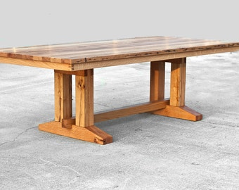 Barnwood Trestle Dining Table Reclaimed Wood Dining Table Large Dining Table Reclaimed Trestle Table Custom Dining Table Oak Table