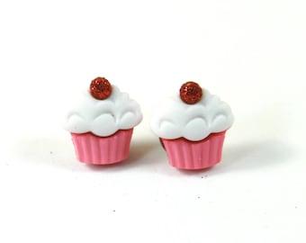 Cupcake earrings, Cupcake studs, Pink cupcake studs, Swirl cupcake earrings, Sparkly earrings, Pink sparkly earrings