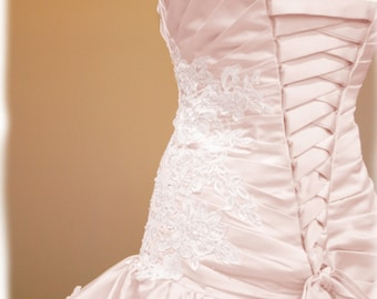 Blush Pink Wedding Dress, Custom Made to Order in your size, Angela Style
