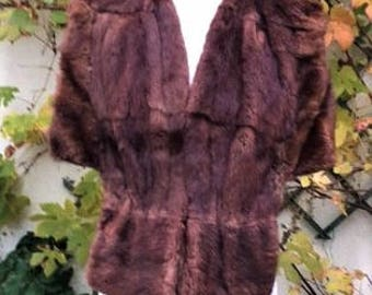 Vintage 1930's/ 1940's Fur cape with muff detail. Silk lined, real Fur .