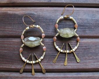 Desert Fan Earrings - Rutilated Quartz Stone Earrings - Healing Stone Jewelry - Peach, Pink, Brass Earrings