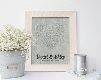 4th Wedding Anniversary Linen gift, Traditional Linen Anniversary gift Wedding Song Lyrics, First dance song, gift for him, her