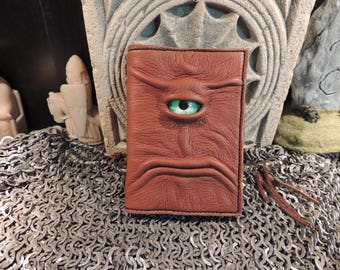 Mythical Beast Book-Refillable (Mini notebook Brown leather with Green eye)