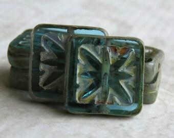 Aqua Picasso Czech Glass Carved Star 15mm Square Bead : 6 Aqua Blue 10mm Square