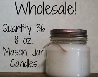 36 Pack Wholesale Candles, 8 oz. Mason Jars
