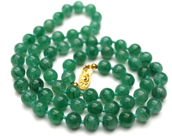 Aventurine gemstone  bead necklace - polish green beads  - hand knotted jade color gift for her  - gold
