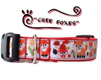 Fox dog collar red, red dog collar, female dog collar, male dog collar, dog collar, girl dog collar, boy dog collar, cute dog collar