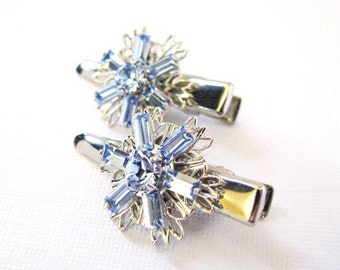 Light Sapphire Swarovski Flower Hair Clips- Prom, Bridal, Special Occasion