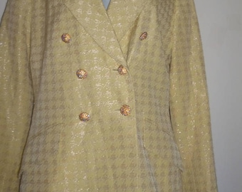 Albert Nipon Evening  blazer sz.6 Yellow & White checked