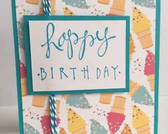 Happy Birthday Card, Ice Cream Birthday Card, Ice Cream Cone Card