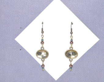 Earrings Brass Yellow Crystal Brown Teal Blue Pearl #G15a