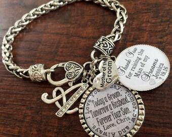 Mother of the GROOM gift, Mother of the groom bracelet, Mother of the BRIDE gift, mother in law, personalized wedding keepsake, INITIAL
