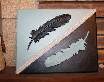 Canvas feathers 2 colors green and black