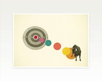 Zodiac Art, Taurus Poster, Bull Art Print - Bull's Eye : Taurus