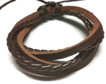 Mens Rope Cuff Bracelet Gift for Boyfriend Simple Bracelet Woven Bracelet Braided Leather Cord Bracelet Womens Leather Brown Wrap Arm Cuff