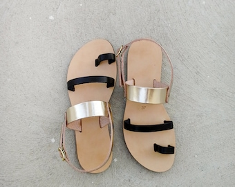 Metallic Leather Sandals in Black and Gold Leather