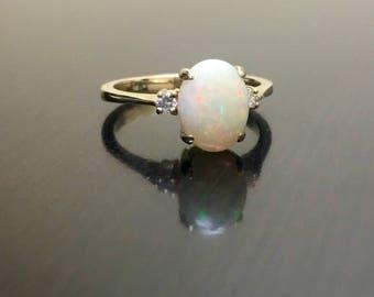 18K Yellow Gold Diamond Opal Engagement Ring - Art Deco 18K Gold Opal Diamond Wedding Ring - Opal Wedding Ring - 18K Gold Art Deco Opal Ring