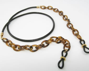 Tortoise Shell and Leather Glasses Chain; eyeglass chain; reading glasses holder necklace; glasses leash; reading glasses holder necklace