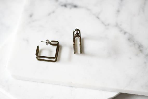 1980s silver square earrings // 1980s geometric earrings // vintage earrings