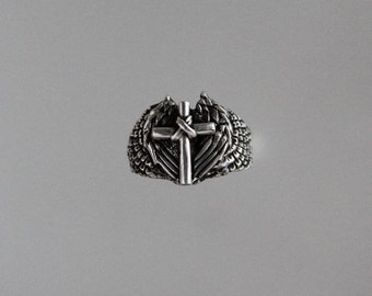 Cross on Angel Wings Sterling Silver Ring