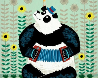 Panda Piazzolla and The Trumpet Bird  - Limited Edition Print - iOTA iLLUSTRATION