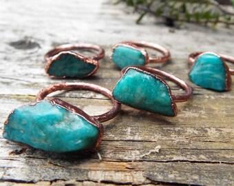 Amazonitring, gemstone ring, Statementring, copper ring, Boho ring, raw crystal ring, Amazonite ring, Crystal Ring, Electroformed, bohemian