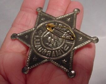 Old Tin Sheriff Marshall Badge (toy) w/ pin back