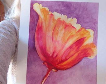 Poppy of Tangerine Tango Orange on Grape Purple Watercolor Giclee 11x14 Spring Trends bright bold