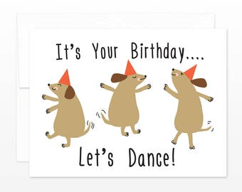 Dancing Dogs Birthday Card - Cute Dog - Let's Dance Happy Birthday Card
