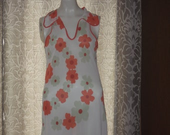 Vintage 1960's 70's Long Mod Flower Nightgown M