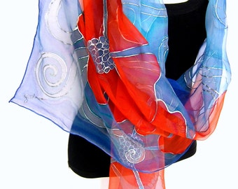 "Floral Silk Scarf, Hand Painted Silk Scarf, Aqua Blue Orange, 71"" Long Silk Chiffon Scarf, Gift For Her, CUSTOM ORDER"