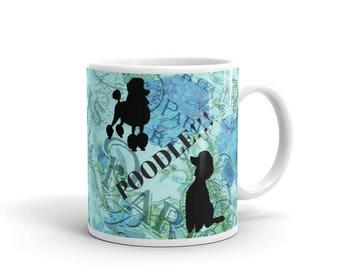 Paris Poodle Dog Blue Floral Dog Lovers French Poodles Coffee Cup Tea Mug Choice of 11oz or 15oz