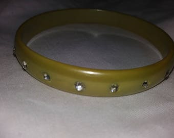 Vintage celluloid bangle with rhinestones