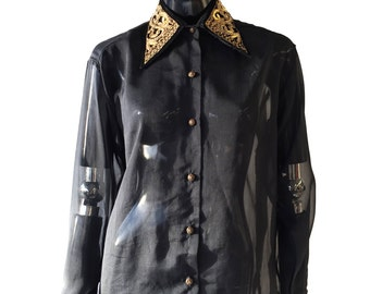 Vintage Bellows Brut Le Garage gold metal collar and cuff embroidered black sheer shirt with connectable collar