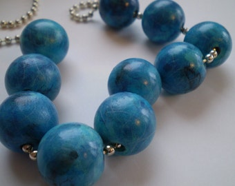 Painted Wood Bead and Chain Necklace