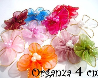 LOT 10 flowers in fabric ORGANZA 4 cm and their pearls embellishment sewing scrapbooking green white pink red gold trim