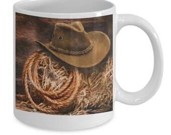 Cowboy Mug / Western Mug / Cowboy Hat and Lasso