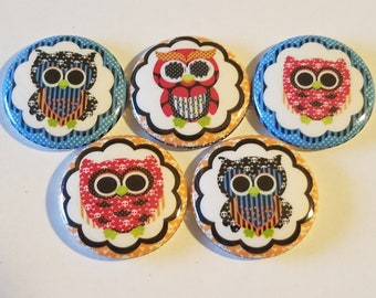 Animals Owls Funky Bright, 1 Inch buttons for bows, crafts, gifts, accessorizing, party favors, scrapbooking