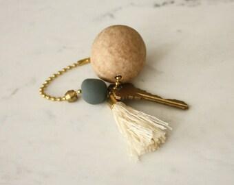 Wood Bead and Tassel Keychain