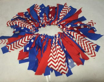 Red White And Blue Rag Tutu First Birthday Smash Cake Outfit With Optional Banner Patriotic Fourth Of July