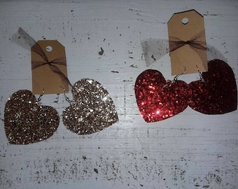 Valentine heart leather earrings
