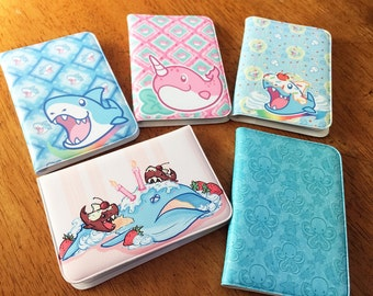 Faux Leather Wallets- 10 pages, Shark, Narwhal, Sea Creatures