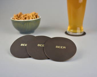 Leather Beer Coasters. Drink coasters. Craft Beer Lover. Housewarming gift. Full Grain Leather. Gold Foil Stamped Mug Coasters