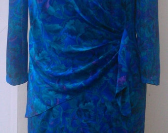 Size 18 Vintage Blue 1980s Dress with Sash