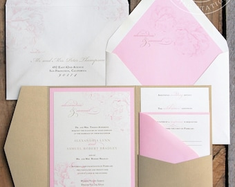 Pink and gold pocket wedding invitations SAMPLE SET | Blush pink peony pocket invitation | Pocketfold wedding invitation suite BPW004-S