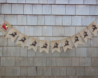 Christmas Decor, Merry Christmas Banner, Christmas Bunting, Holiday Decor, Burlap Bunting, Burlap Garland, Rustic Christmas, Santa Reindeer