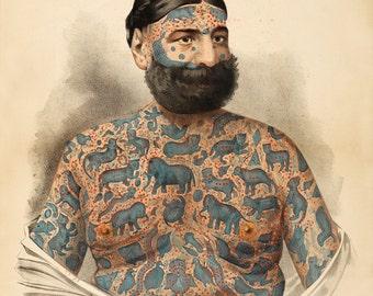 "Freak Show Poster : ""Royal Aquarium - Captain Costentenus"" (c1882-1886) - Giclee Fine Art Print"