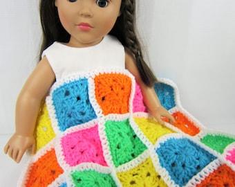"Crochet Doll Blanket, 18"" Doll Blanket, 15"" Doll Blanket, Multi-Colored Doll Blanket, Handmade granny square doll blanket, doll bedding"