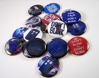 """1"""" Flat Back Dr. Who Inspired Buttons, 12 Count Don't Blink Collection"""